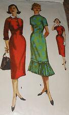 Vtg 50s Simplicity 1453 Figure Molding Darts Wiggle Dress Pattern 29B sz 11 Unc