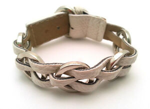 White Leather Bracelet with  Braided Design and Steel Hoops - Buckle Clasp