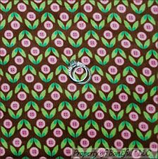 BonEful Fabric FQ Cotton Corduroy VTG Brown Pink Flower Button Green Leaf Calico