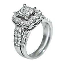 2.05ct Princess Round Cut Prong Invisible Set Wedding Ring Set 14K White Gold