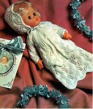 Baby Dolls Clothes Knitting Pattern Copy dress coat bonnet  36 cm dolls 3 ply