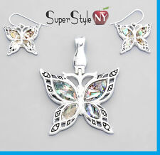 """Silver Abalone Shell Pearl Butterfly Wings Pendant Necklace Earrings + 23"""" Chain"""