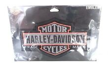 Harley Davidson Lg Black Grey Orange Bar & Shield Sew on patch 7x4.5 TRADE MARK