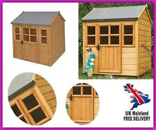 Childrens Wooden Garden Playhouse Kids Outdoor Storage Space Gazebo Lodge Shed