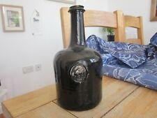 Stunning English Pictorial Black Glass C18Th Mallet Wine Bottle
