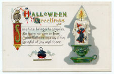 Halloween Greetings Owl Cauldron Witch in Candlestick