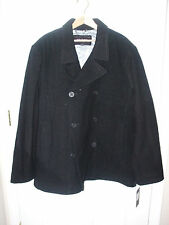 NEW GUESS Men's Wool Peacoat Coat Dress Jacket Black XXL 2XL NWT