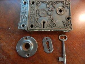 Ornate Door Rim Lock Penn Co. Brass Bolts (RL 270)