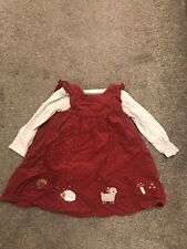 Mothercare Baby Girls Christmas Dress 9-12 Months And Long Sleeved Vest