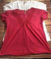 Eyeshadow Womens Shirts Short Sleeve V Neck White Pink Size 2XLarge 2 Pieces