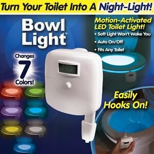 Bowl Light LED Toilet Night Light Motion Activated AS SEEN ON TV - New