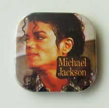 MICHAEL JACKSON OLD SQUARE SHAPED METAL PIN BADGE FROM THE 1980's THRILLER