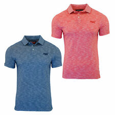 Superdry Mens Orange Label Short Sleeve Polo Jersey T Shirt Red Navy Feeder