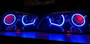 VE Commodore Projector Headlights S1 SSV w/ Multicolored LED Halos & Demon Eyes