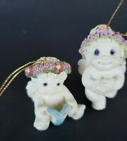 Lot of 2 Dreamsicles Cherub Angel Christmas Holiday Ornaments Book Cat