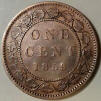 1859 CANADA ONE CENT Coin - DP 'T' in GRATIA