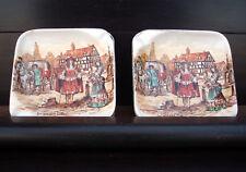 2 Antique Ceramic Lancaster Ltd English Ware Ash Trays Ye Olden Days 1938 Hanley