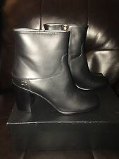 Rare NIB Only 1 New CHANEL Black Leather CC Metal Logo Boots 40 fit 8 8.5 9 US