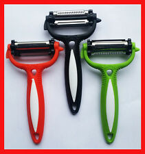 New 3 in 1 Julienne Rotary Fruit and Veg Speed Peeler Cutter Slicer Blade UK