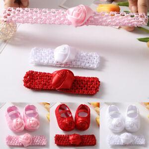 Baby Walking Shoes+Headband Set Girls Princess Pram Shoes Newborn Bowknot