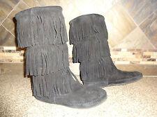 Womens Sz 9 MINNETONKA MOCCASINS #1639 Black Leather Mocs Shoes Boots