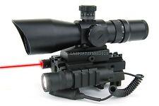 3-9x42 Range Finder Scope w/ Tri-rail Mount, LED Flash Light & Red Laser