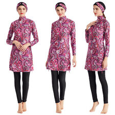 Full Cover Modest Swimwear Muslim Women Beachwear Printed Floral Burkini Set 3pc
