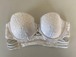 Victorias Secret Padded Bikini Swim Suit Top White Lace Underwire Size 36C