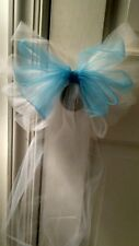 Sale 12pc $30 White And Turquoise Wedding Tulle Pew Bows OR ANY COLOR  RUSH AVA