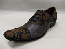 Fiesso New Brown with Leather and Fabric Cognac Flocking Design Shoes FI 8606