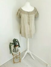 Made In Italy Womens Blouse Size M/L Grey Stone Embroidered Lagenlook Boho Style