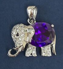 Crystal elephant sterling silver pendant - Amethyst