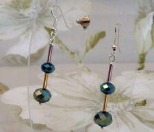 Womens Dangle Pierced Earrings Metallic Green Blue Brown Rondelle Bugal Beads