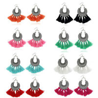 Multicolor Bohemian Women's Vintage Long Tassel Fringe Boho Dangle Earrings