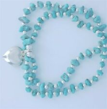 Sterling Silver & Sleeping Beauty Turquoise Bracelets with Heart Accent