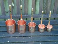 Set of 5 Copper & Brass Drink Ladles Litres -Cider Ale Whisky,Rum  Brandy Ladel