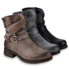 Damen Stiefeletten Biker Boots Gefütterte Stiefel Nieten 823967 Schuhe