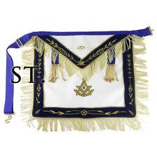 Masonic Past Master Blue Velvet Fabric Leather Covered Gold Orbs Tassel Apron
