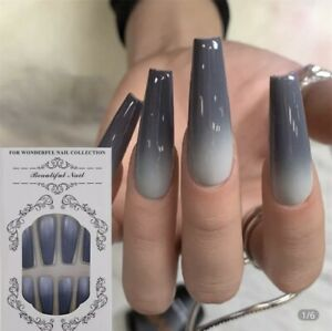 False Nails Ballerina Coffin Shaped Long Black Ombre Fake Nail Fast & Free