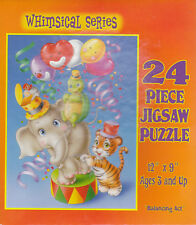 "Jigsaw Puzzle Series WHIMSICAL - BALANCING ACT Elephant Turtle 24 Piece 12""x9"""