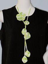 New Handmade Crochet Green White Rose Flower Scarf Necklace Lariat