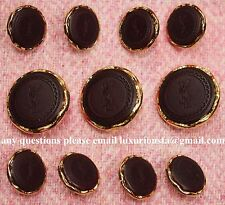 YSL Yves Saint Laurent Gold Metal Blazer Buttons Set - Dark Maroon Background