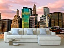 Sunset Time View of Manhattan, N Wallpaper Mural Wall Paper Background Furniture