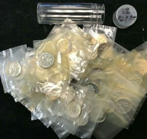 1962 Silver Proof Roosevelt Dime Roll 50 Coins In Mint Cellophane     10C