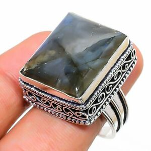 Labradorite Gemstone Vintage 925 Sterling Silver Jewelry Ring Size 7.5 u111