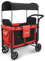 Wonderfold W2 Multi Function 2 Passenger Folding Double Stroller Wagon Red NEW