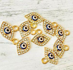 Evil Eye Gold Rhinestone Crystal Blue White Enamel Charms Charm