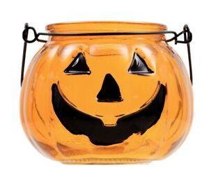 """Halloween Glass Pumpkin Jack-O-Lantern Tealight Candleholder Candy Bowl 3""""x4"""""""