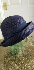 SEEBERGER Navy Straw Hat - One Size - Excellent Condition
