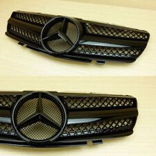 SL Type Front Grille For Mercedes-BENZ R230 W230 Convertible Gloss Black 03-06